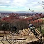 Dan Lucas and Ryan Claeys hitting a wallride high up on Liberty Mountain. Photo: mtbgreg1.