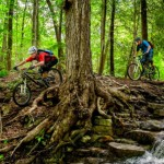 """""""I've had the opportunity to ride with legendary Wade Simmons in the past. This time he brought along another freeride legend, Brett Tippie. Photo was taken near Georgetown, Ontario. Great guys to ride with."""" Photo: Steve Frost."""
