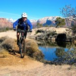 """David Jaget on Virgin's famed Guacamole Trail with Zion National Park in the background. 1/30/13"" Utah. Photo: Demo1."
