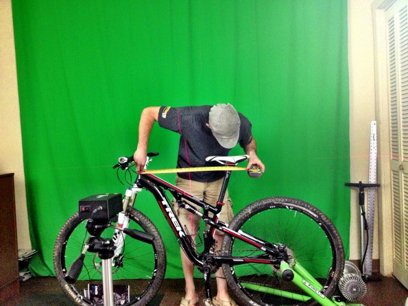 Eddie at work on the Trek Superfly (in for review).