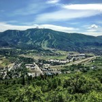 View of Steamboat Springs and Steamboat Ski Resort from the Emerald Mountain Trail System.