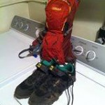 """""""my Xmas MTB booty. A fashionable bag and sensible pair of shoes."""" Photo: Michael Peterson."""