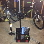 """"""" I was given the things I need to keep our bikes operating at their best. Bike stand, tools, floor pump, and instruction book."""" Photo: Caleb Coffey"""