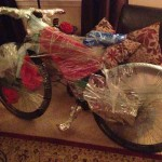 """""""Santa brought me a new Specialized! I loved the wrap job....can't tell at all what it is, right?"""" Photo: Charity Arthur."""