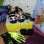 """My Christmas gift spending package: Mavic Rush shoes, Pearl Izumi Conductive gloves and Nuke Optics Blitz Polarchromic sunglasses."" Photo: Elek Norbert."