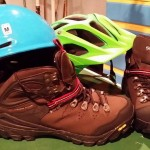 """""""Shimano MT91 boots from the UK, Smith Aspect helmet for winter riding & a Specialized Vice helmet for when it warms up."""" Photo: Fred Mcgill"""