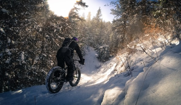 Climbing to the top of Lair O' the Bear on my Salsa Beargrease, enjoying the solitude and zen of an abandoned forest