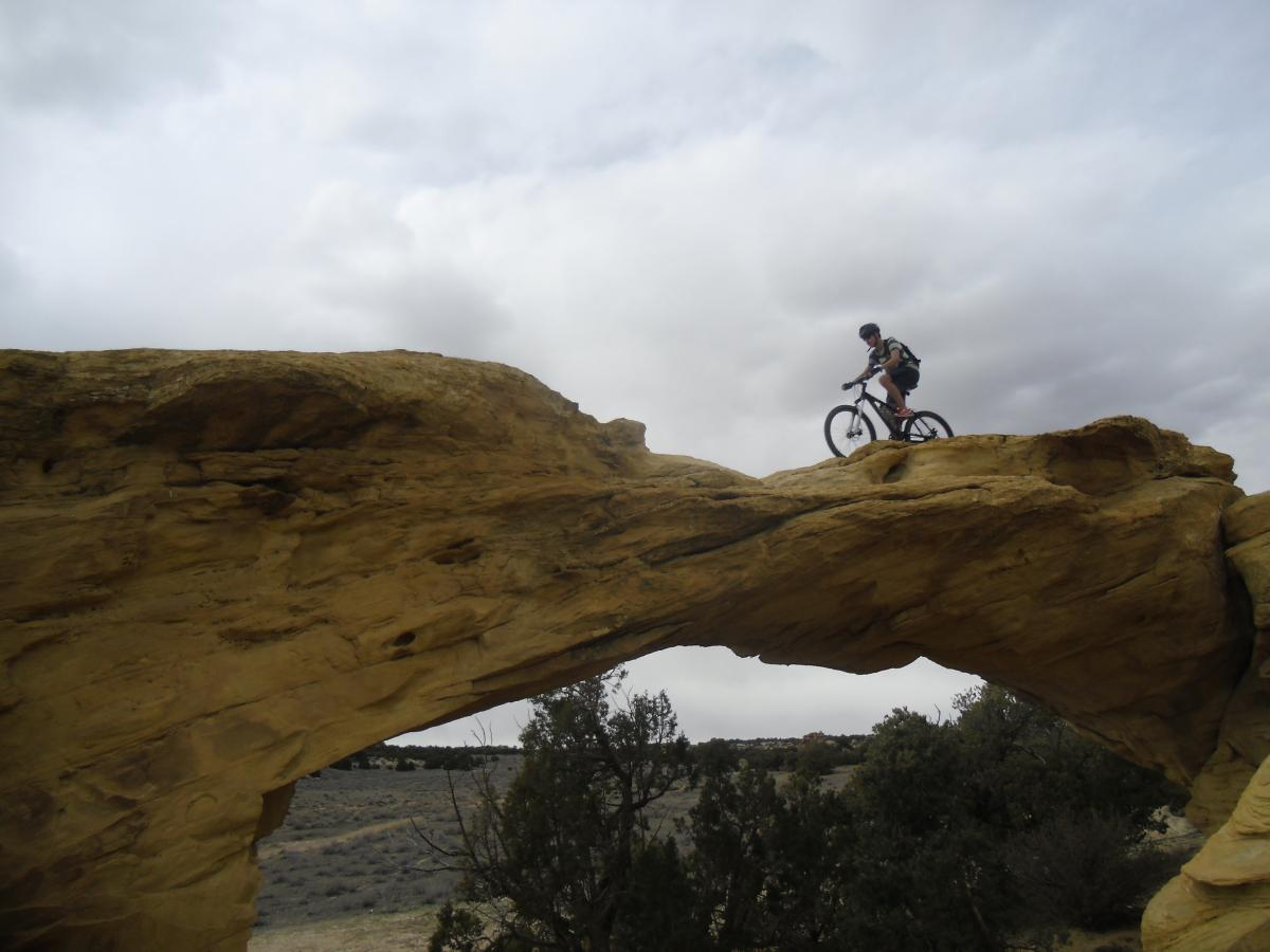 Riding across Dutchman's Arch