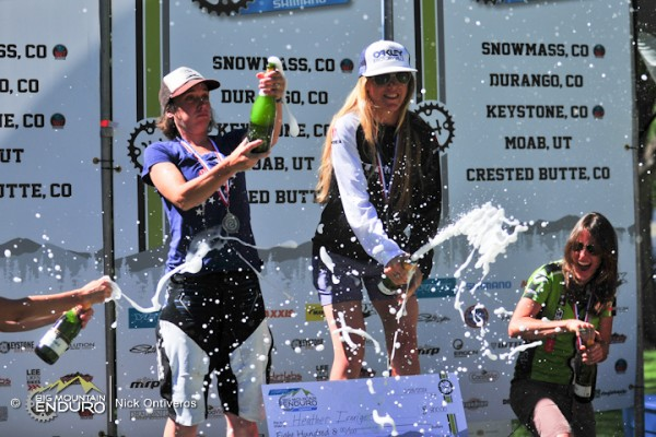 Pro Women's podium at Durango Big Mountain Enduro in 2014 (left to right): Sarah Rawley, Cait Dmitriew, Heather  Irmiger, Krista Park and Alex Pavon.