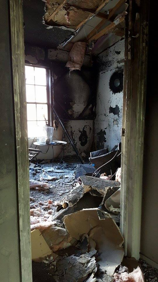 The inside of Adam's home, after the fire.