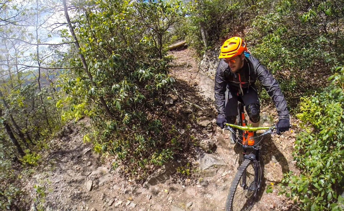 The Dakine Breaker was ideal for a recent ride in Pisgah where the temps varied from 50s to low 70s (photo: Michael Paul)