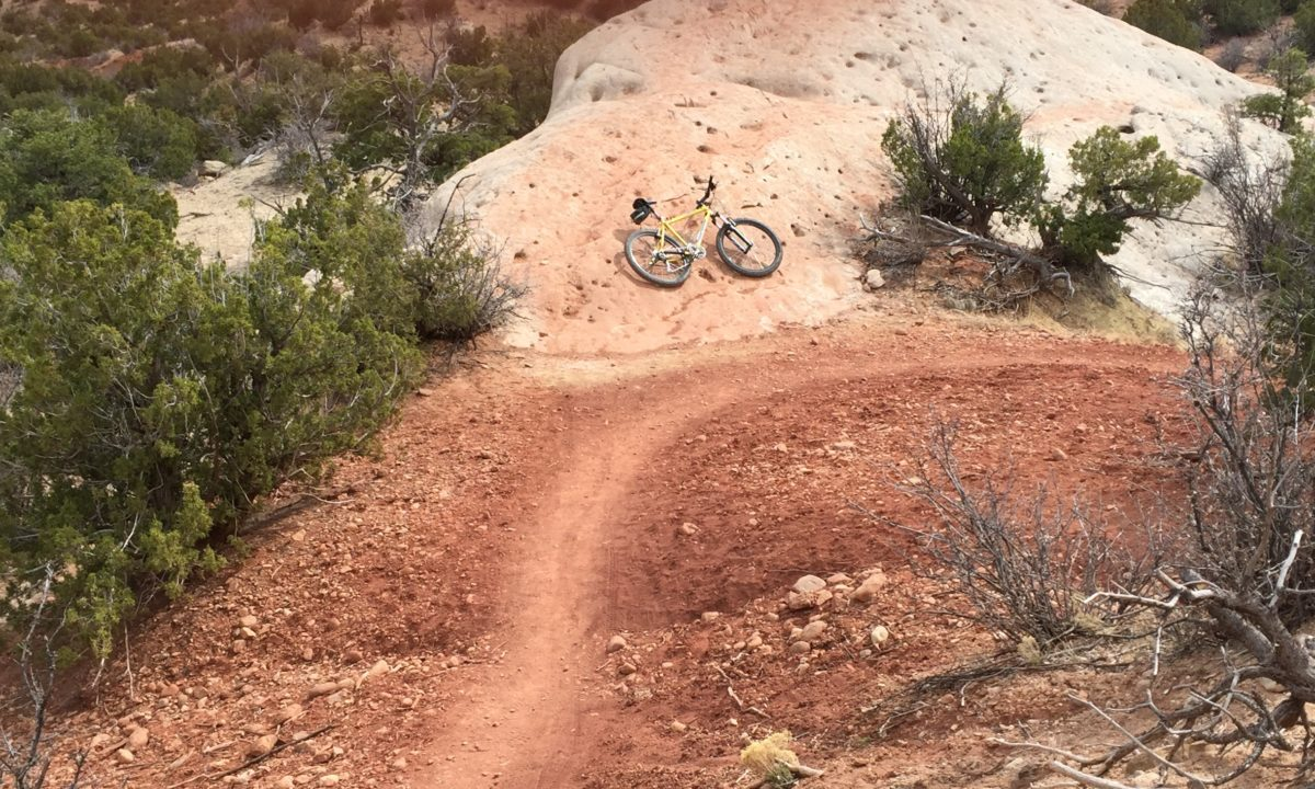"I've never lived in New Mexico, but I""ve ridden over 40 trails there like this one in the Galisteo Basin Preserve south of Santa Fe, thanks to business trips on which I've brought the bike."