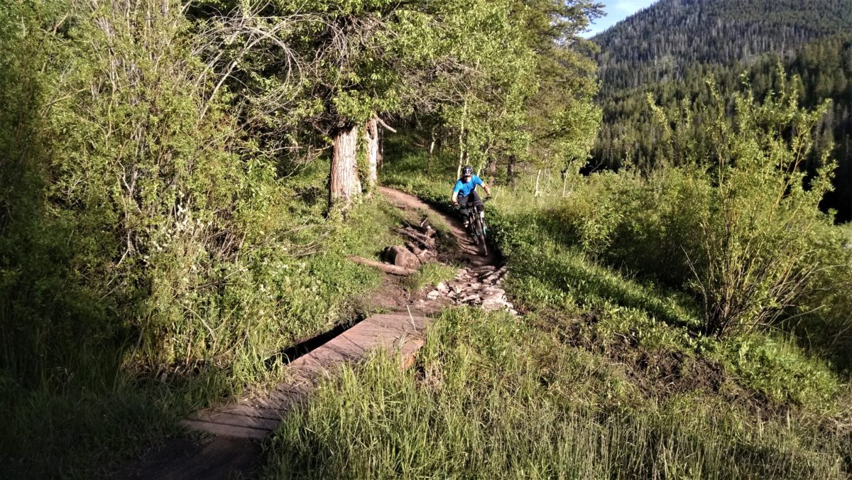 Singletracks's Chris Daniels attacking a rocky section immediately before the bridge -- notice that he's looking past the rocks towards the bridge and trail ahead. Photo: Aaron Couch
