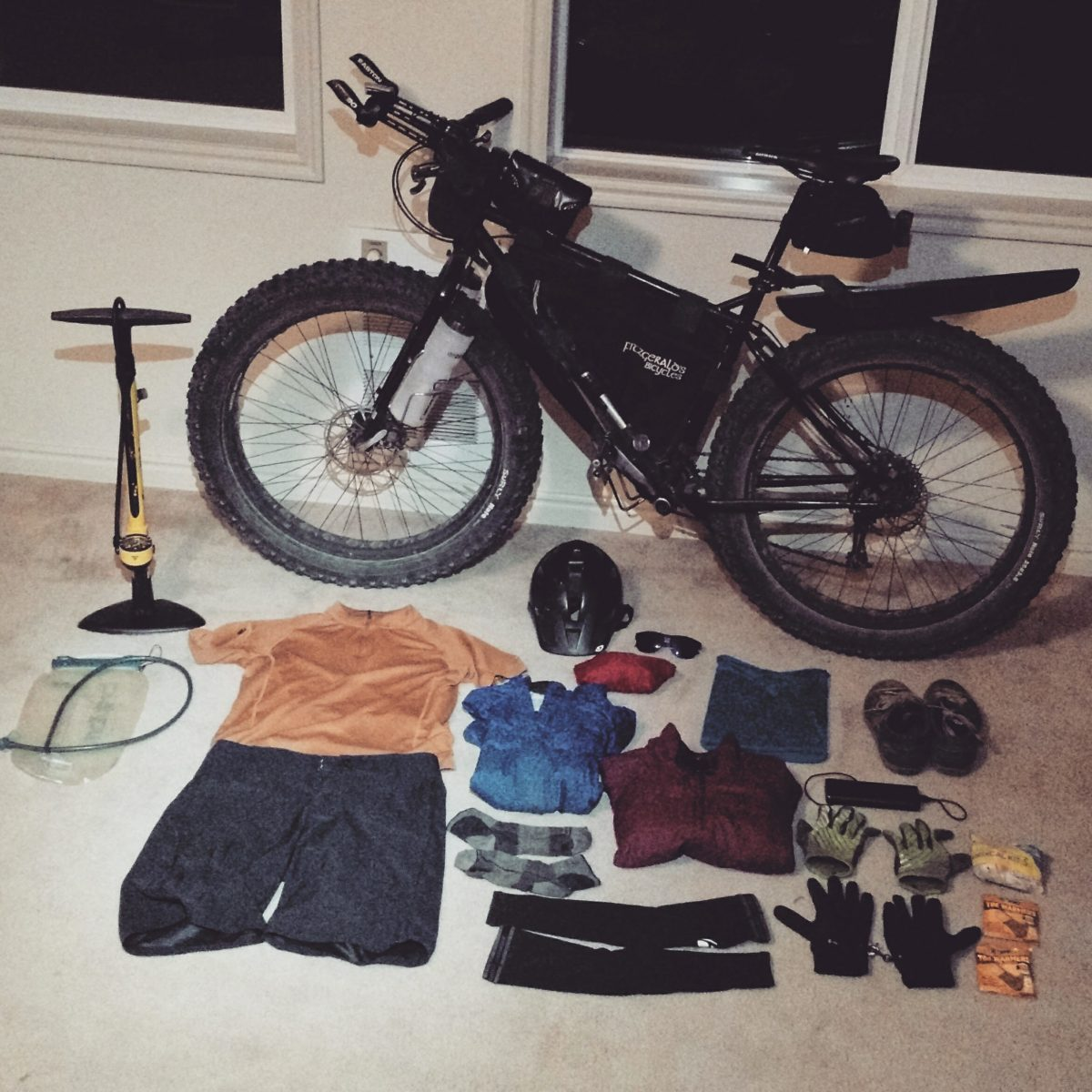 All the gear carried during the race, minus the floor pump.