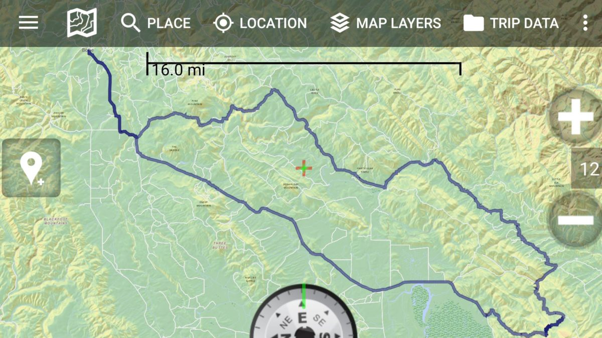 Backcountry Navigator interface with plotted route.