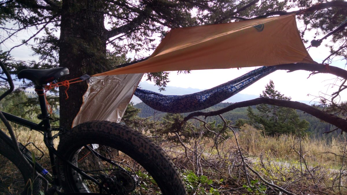 Using the bike as a tie down. Photo: Aaron Couch