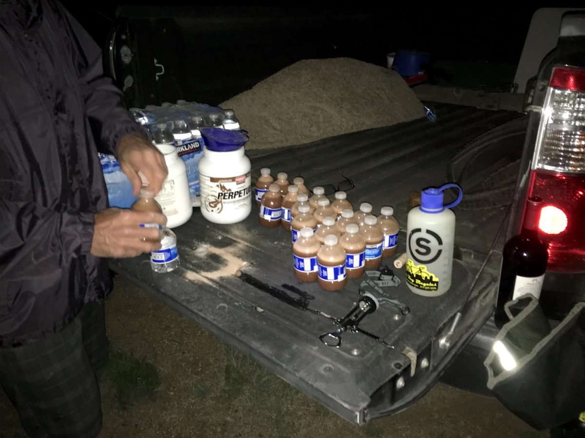 Calculated preparation by Solo racer Mike Castaldo of Chico, CA.. Each of those bottles contains about 300 calories. In 2015, Castaldo won the World Solo 24-Hour Mountain Bike Championships in Weaverville, CA.