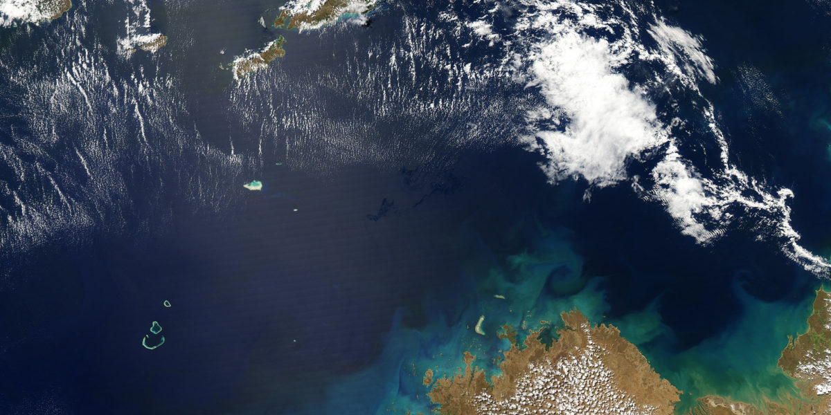 Oil slick from the Montara oil spill in the Timor Sea, September 2009. Photo: US Government