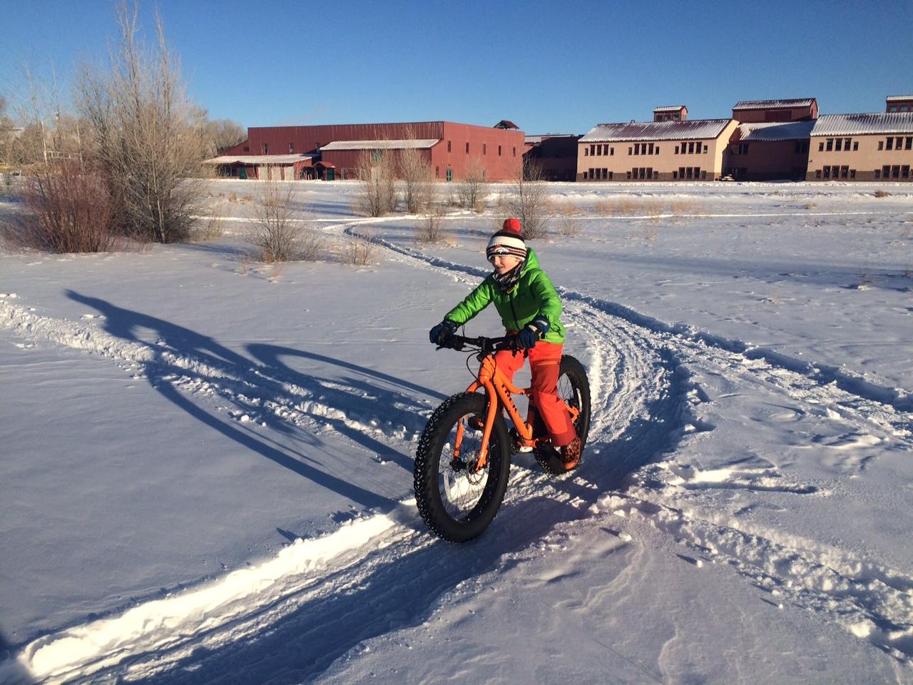 Riding the groomed school trails (photo Jonathan Houck)