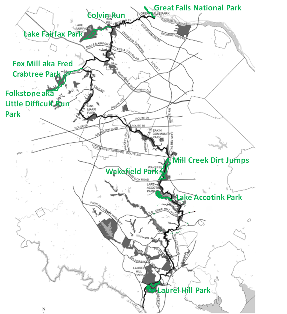 Overview map of the entire route, including detours onto singletrack options off the main CCT route