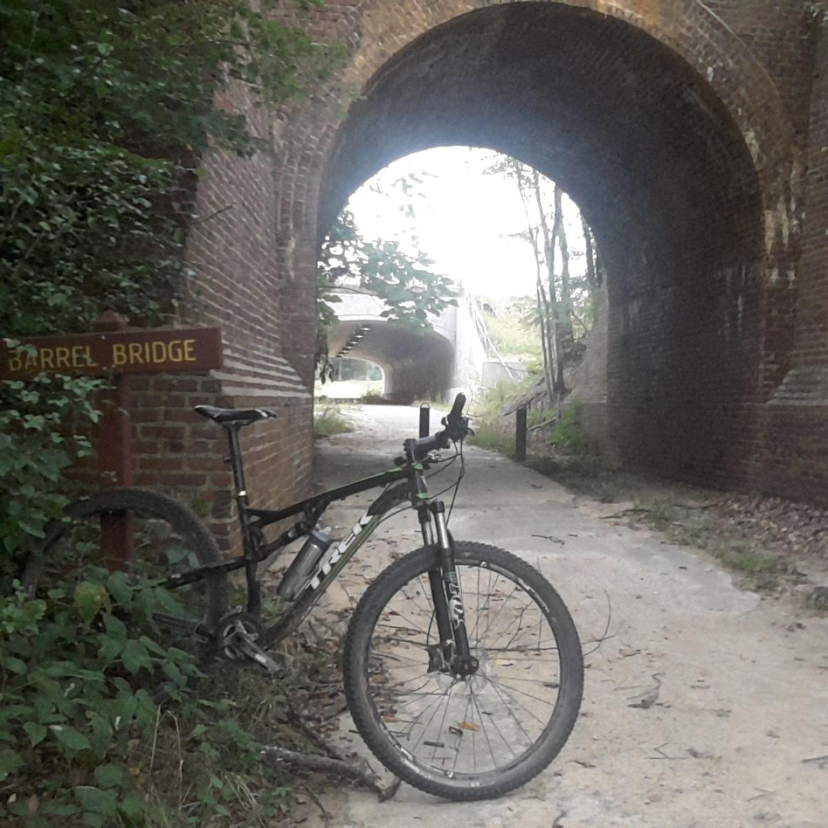 Historic bridge between the Giles Run singletrack and the rest of the Laurel Hill trail system (photo: Reckoneer)