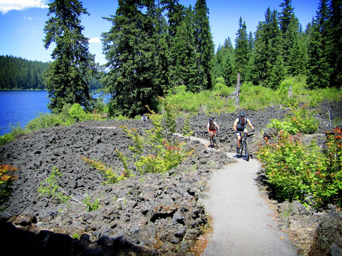 Just as you get into the groove of dancing over the challenging lava, Oregon's McKenzie River trail gets ... paved? (photo: Skoofer)
