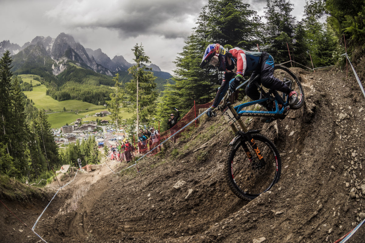 Danny Hart performs at the UCI DH World Tour in Leogang on June 12, 2016