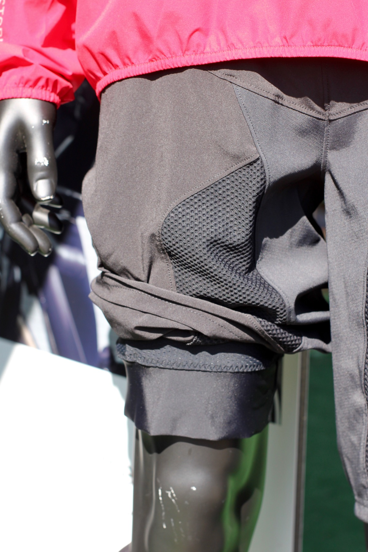 Showing the inner short cuff below the outer baggy short.