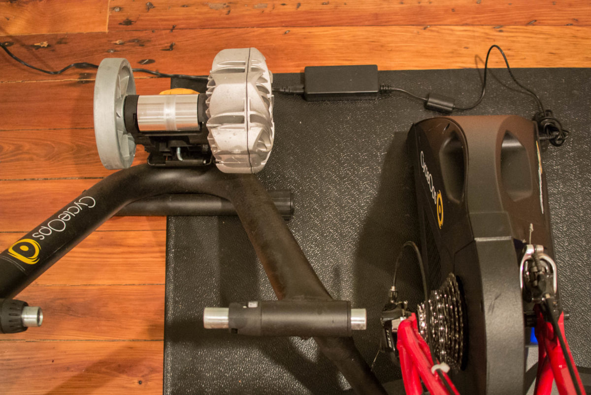 A wheel on trainer is lighter, but takes up more room than the Hammer