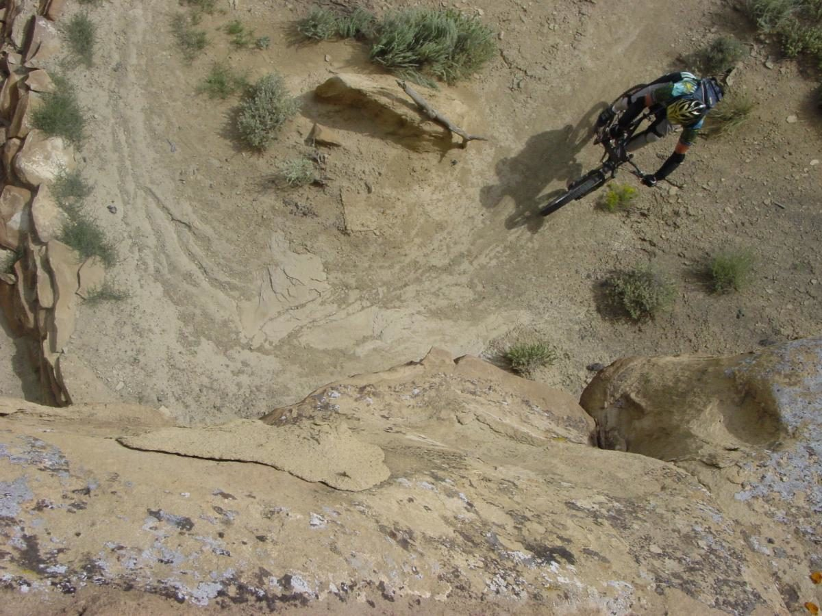 The author rounds a switchback below a butte in the High Desert Trail System