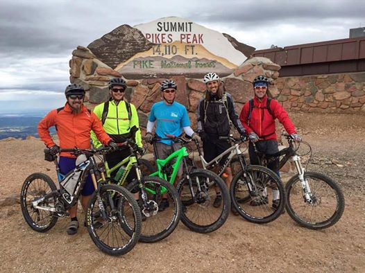 My spouse happily made the treacherous drive up Pikes Peak to drop off the Singletracks crew so we could enjoy nearly 8,000 vertical feet of descending -- and took pics! (Photo: Lisa Fisch)