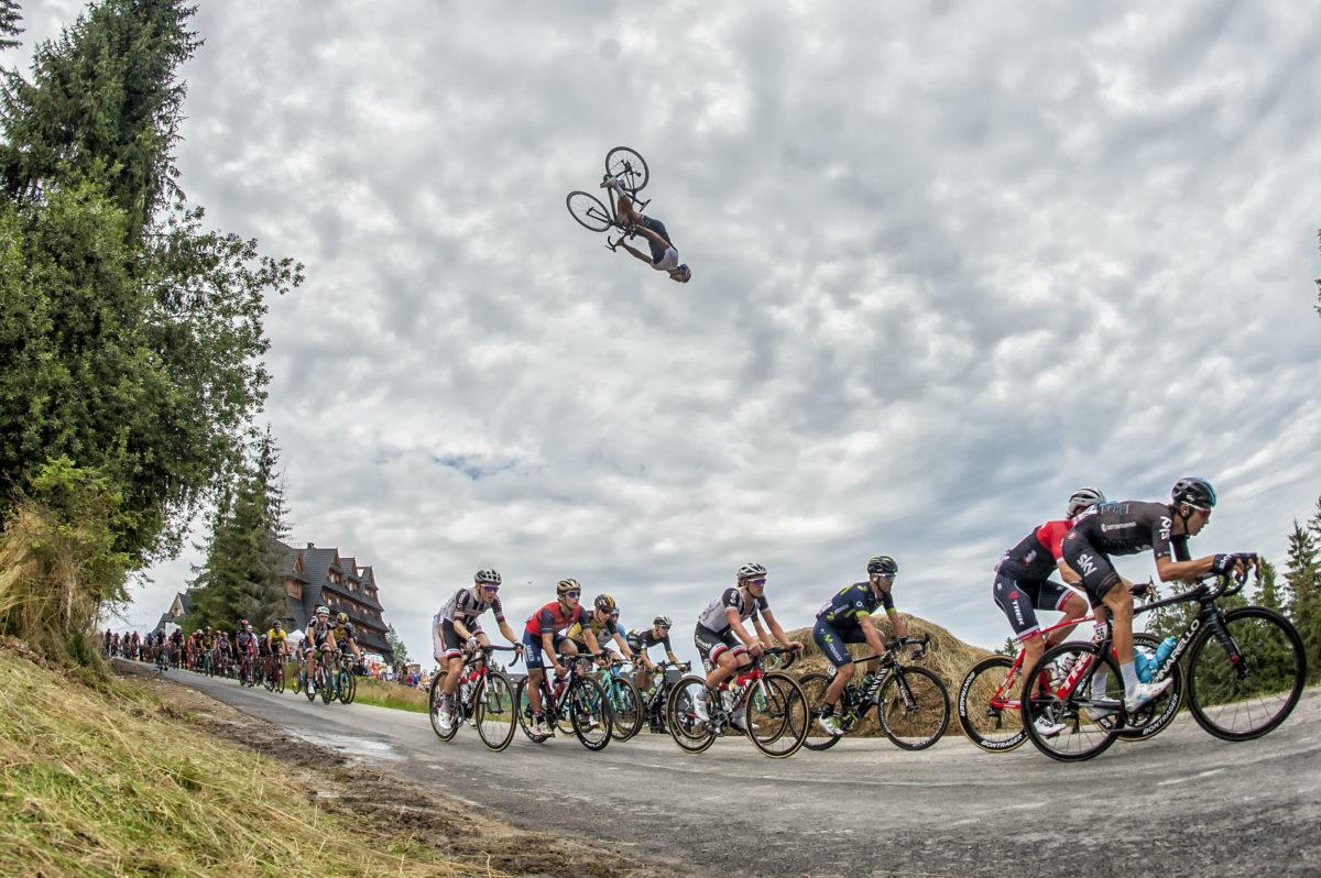 Must Watch: Backflip Over the Tour De Pologne Peloton... on a Road Bike!