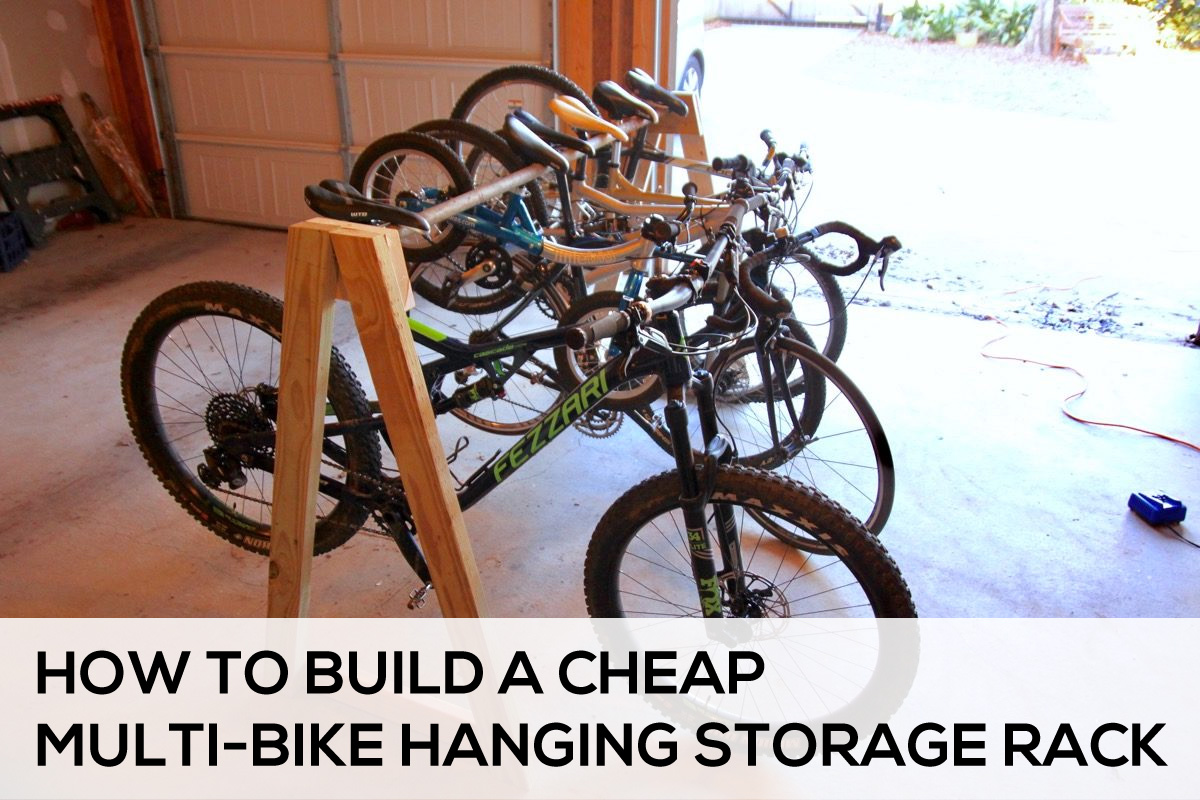 Diy bicycle rack Space Saving How To Build Cheap Multi Bike Storage Rack Singletrackscom How To Easily Build Cheap Multibike Hanging Storage Rack