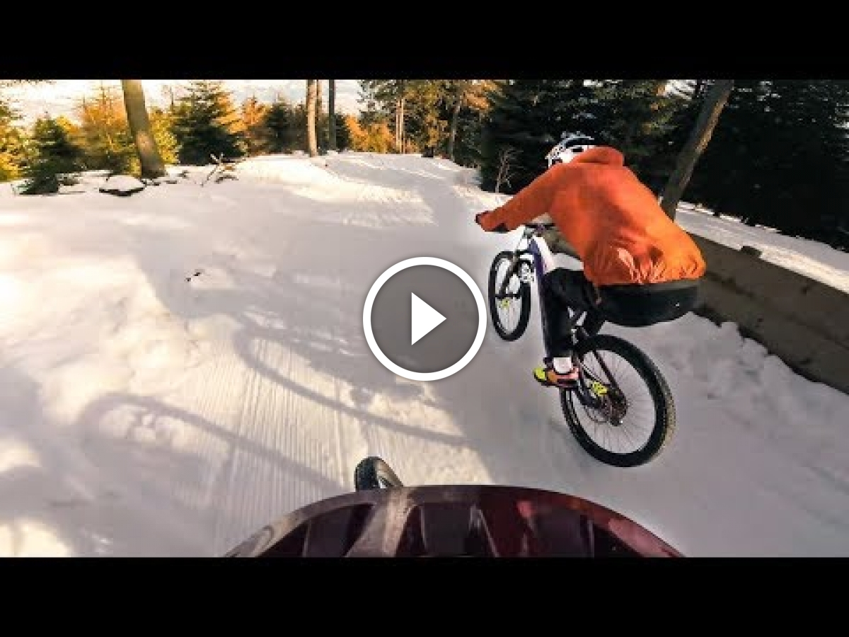 Watch Racing Mountain Bikes On Snow With Fabio Wibmer