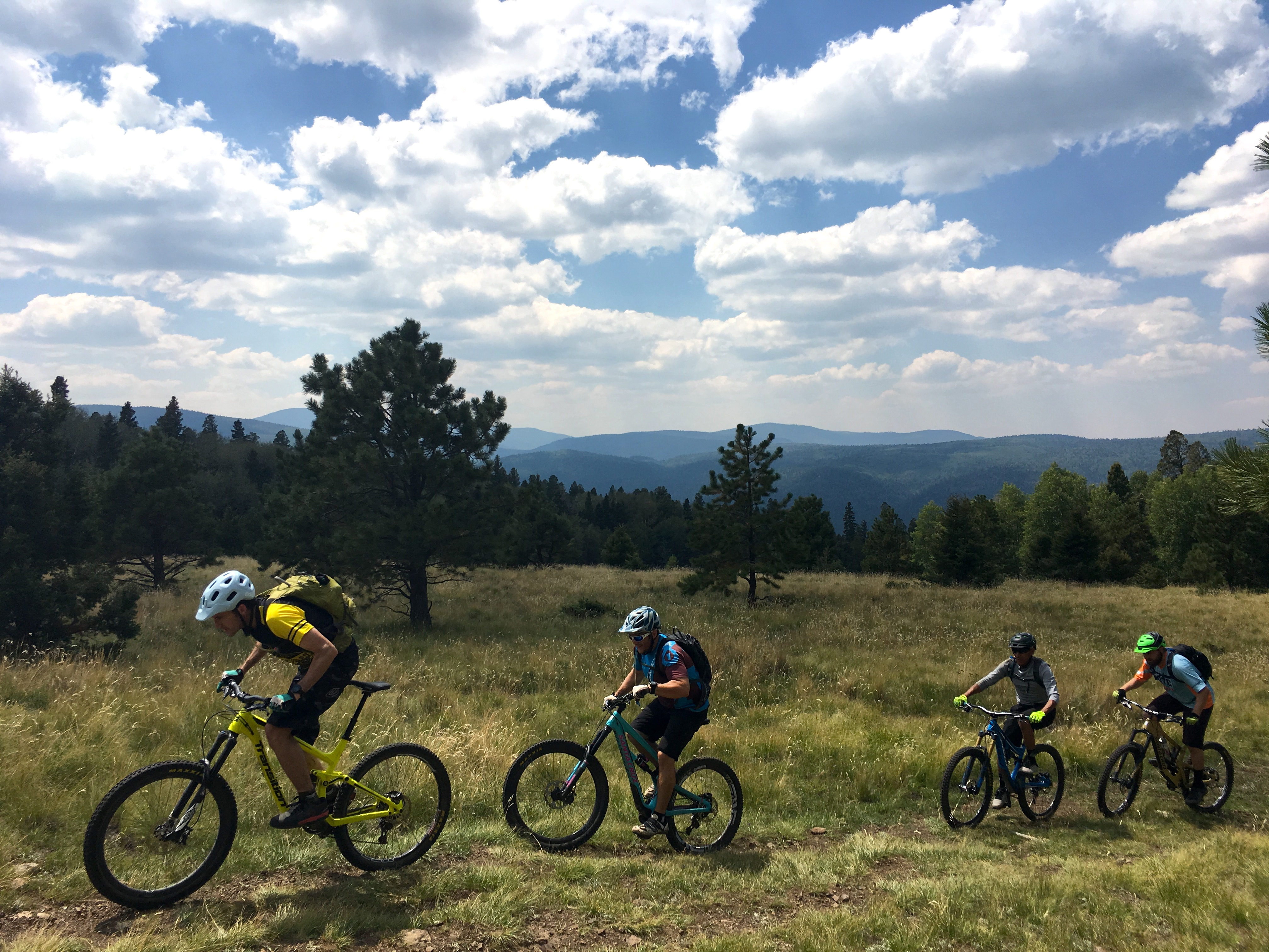 mountain bikers riding south boundary trail near angel fire new mexico