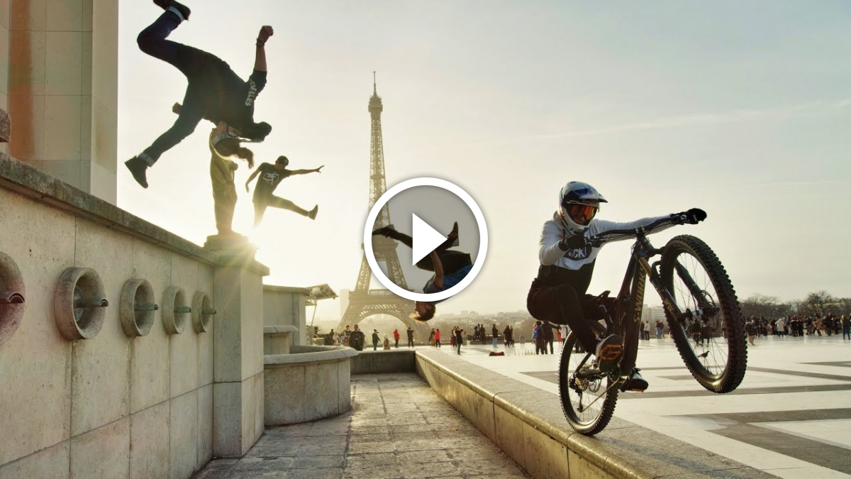 Watch: Bike vs. Parkour - Fabio Wibmer Jumps the Highest Roofs in London and Paris