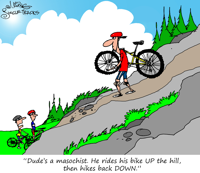 Reverse Hike-a-Bike [Cartoon] - Singletracks Mountain Bike News